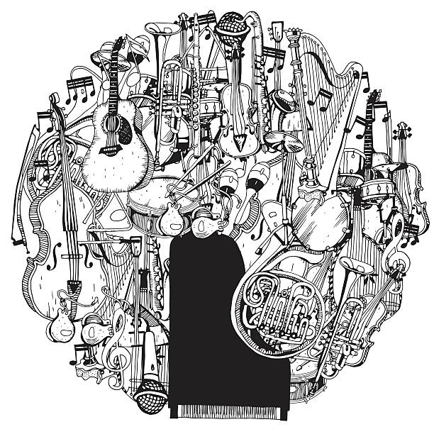 hand drawn collection of music instruments in circle. - muzyka poważna stock illustrations