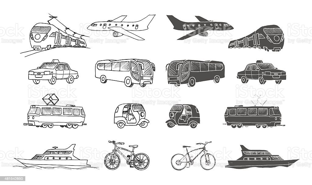 Hand Drawn Collection Of Passenger Transport Doodle Set Isolated