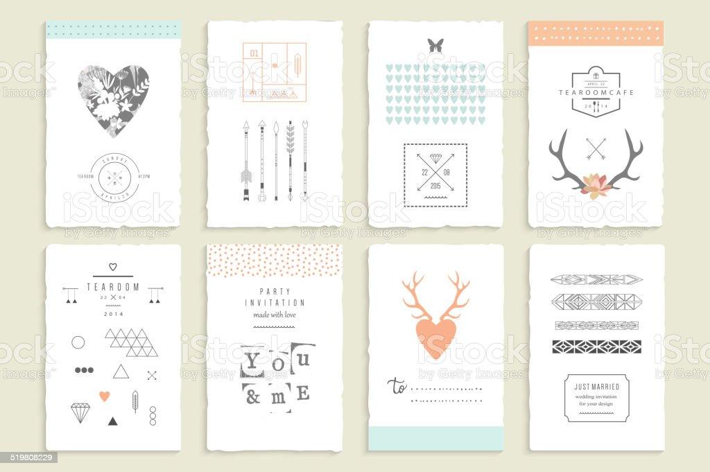 Hand drawn collection of romantic invitations. vector art illustration