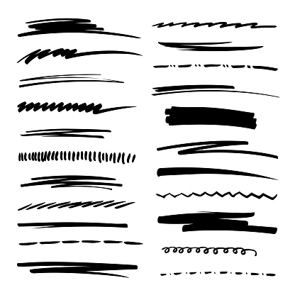 Hand drawn collection set of underline strokes in marker brush doodle style. Grunge brushes. clipart