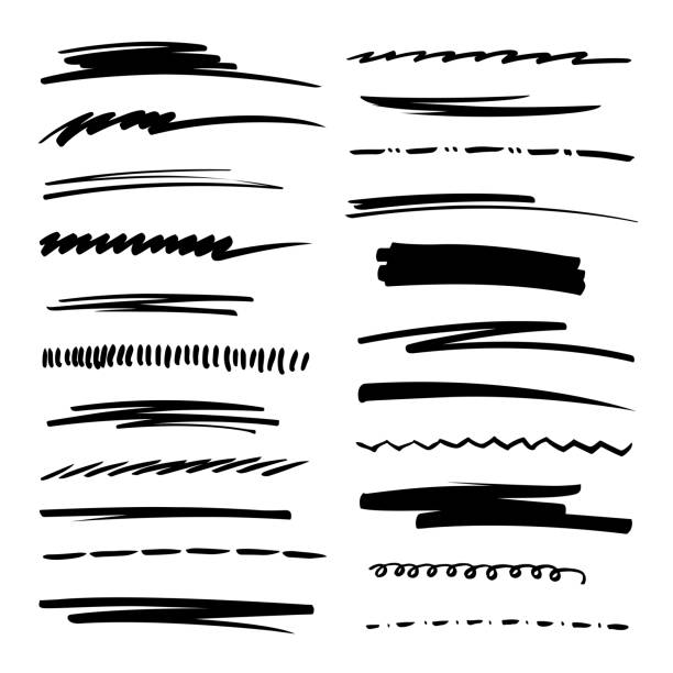 illustrazioni stock, clip art, cartoni animati e icone di tendenza di hand drawn collection set of underline strokes in marker brush doodle style. grunge brushes. - scarabocchi