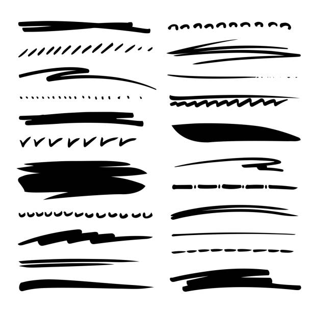 Hand drawn collection set of underline strokes in marker brush doodle style. Grunge brushes. vector art illustration