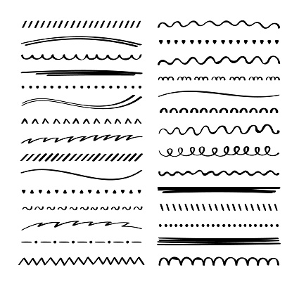 Hand drawn collection set of underline strokes in marker brush doodle style. Doodle design elements. Vector graphic design