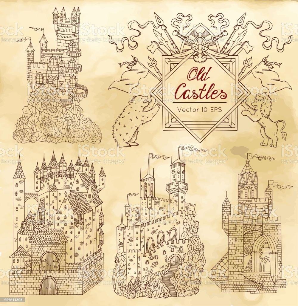 Ilustración de La Colección Dibujada Con Castillos Góticos Y ...