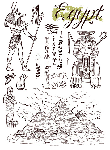 Hand drawn collection with traditional egyptian symbols