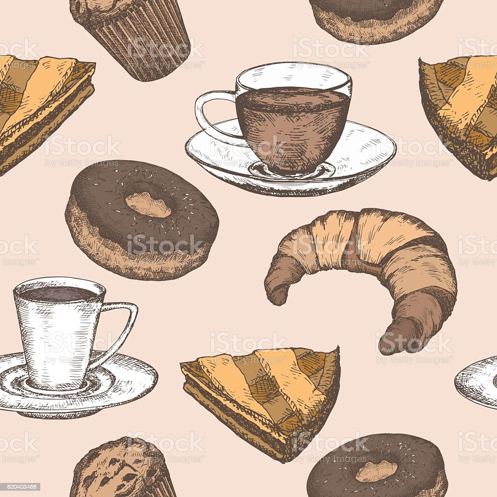 Hand drawn color tea, coffee and pastry seamless pattern vector art illustration