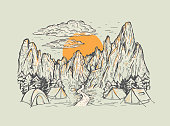 Hand drawn color vector illustration of a mountains with forest, river, tens, sunrise or sunset. Romantic landscape. Touristic camp with tents. Design for print, postcard, poster, cover, banner