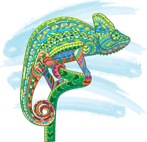 hand drawn colored doodle outline chameleon illustration. decorative in - chameleon stock illustrations