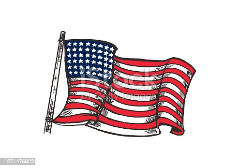istock Hand drawn colorful American flag illustration isolated on white background. American flag element for emblem, logo, background, wallpaper or t-shirt. 1271476923
