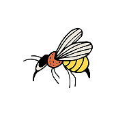 Hand drawn colorful bee isolated on a white background. Doodle, simple outline illustration. It can be used for decoration of textile, paper and other surfaces.