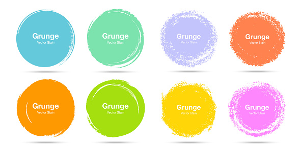 Hand drawn colorful circle brush sketch set. Vector circular grunge doodles for message note mark design element. Brush stroke circle stains texture isolated on the white background. Vector.