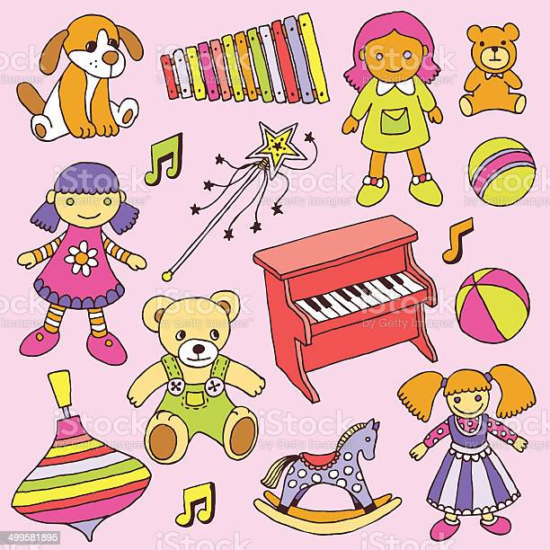 Hand drawn colorful doodle girls toys set vector illustration vector id499581895?b=1&k=6&m=499581895&s=612x612&h=wgrpdg0fkent7rxllsvn5reo9tyz4ljet bf0zk50 q=