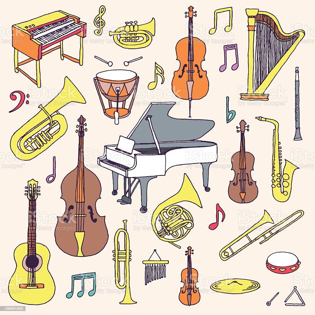 カラフルな手描きの落書きの楽器ます クラシックオーケストラます