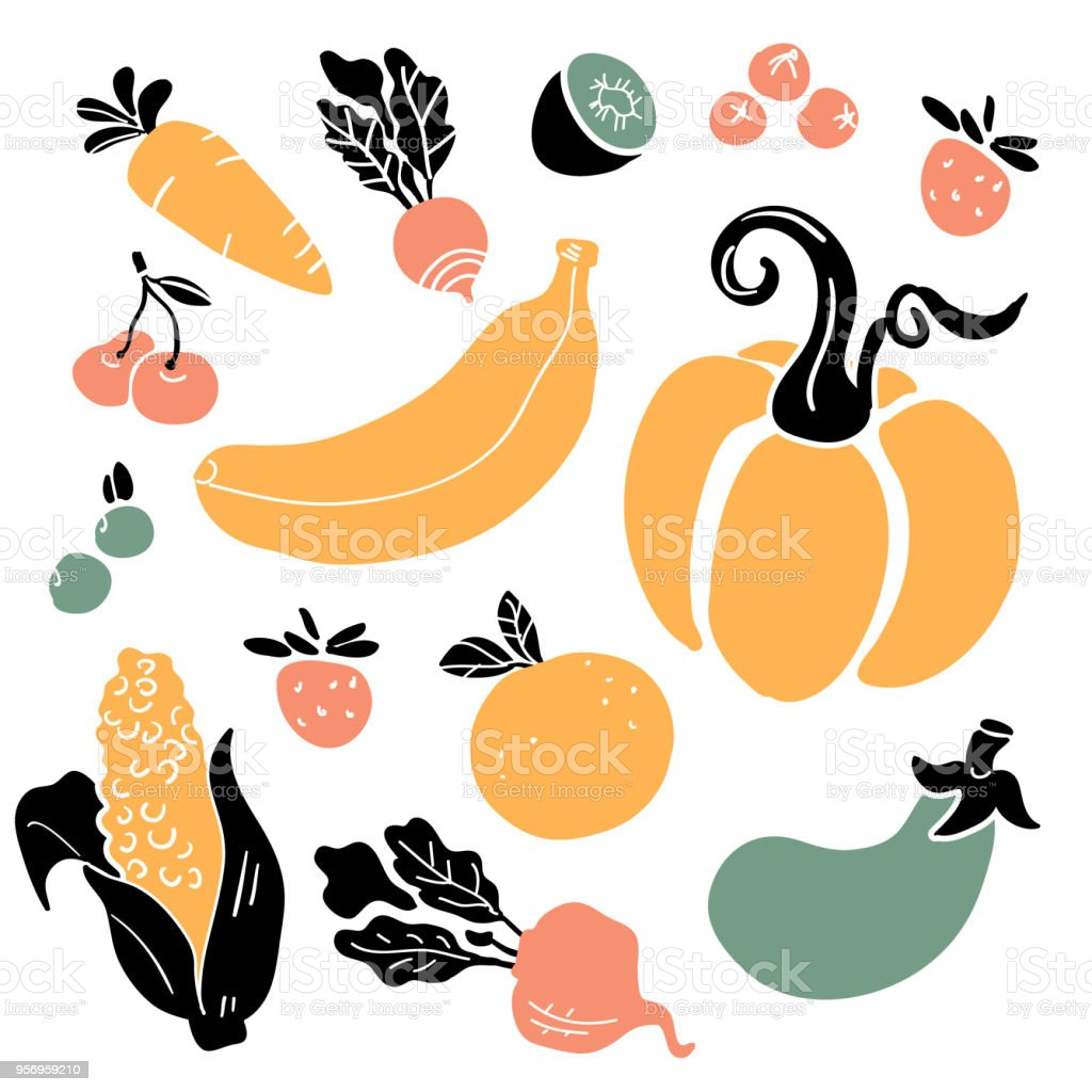 Hand drawn colorful doodle vegetables and fruits vector art illustration