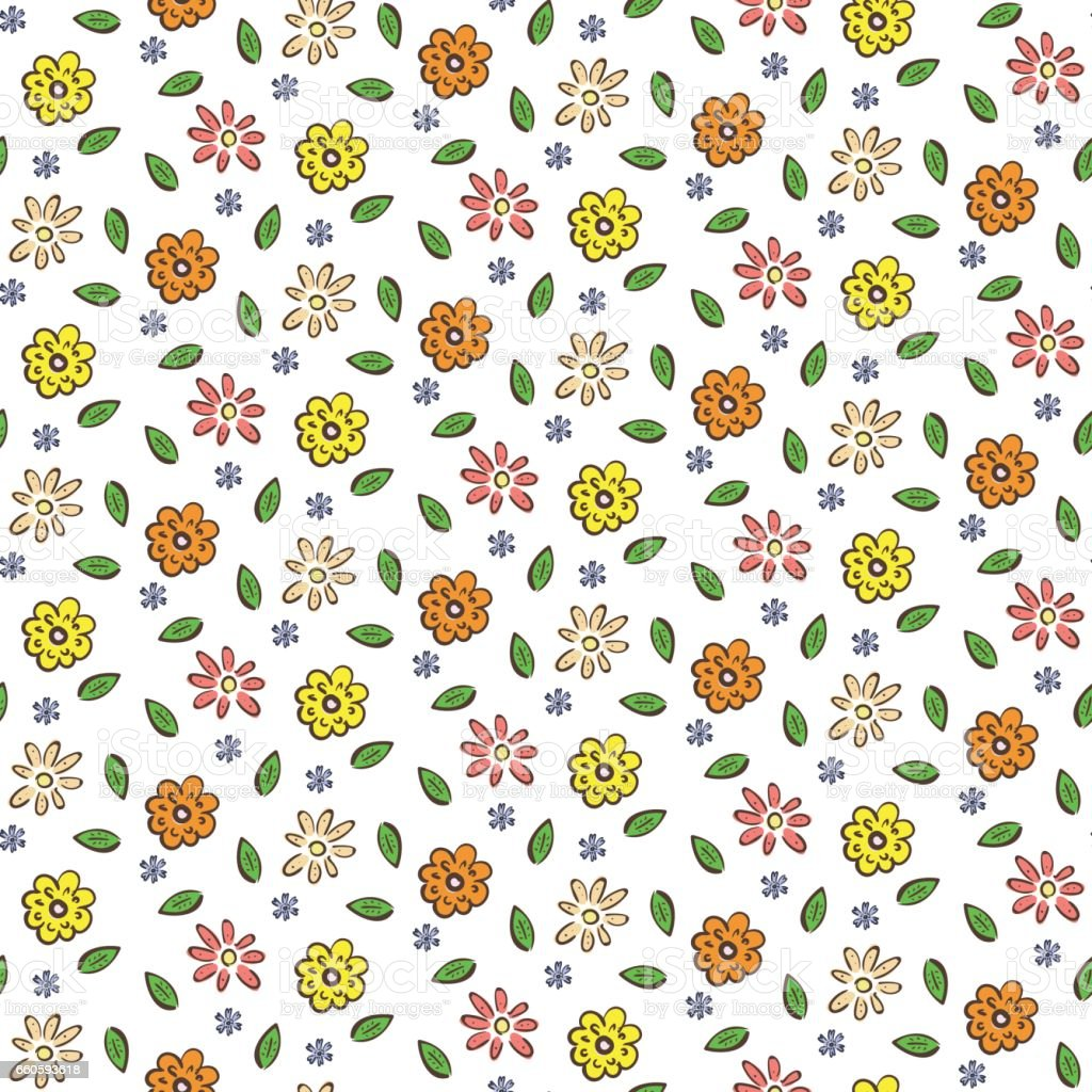 Hand drawn colorful flowers seamless pattern royalty-free hand drawn colorful flowers seamless pattern stock vector art & more images of affectionate