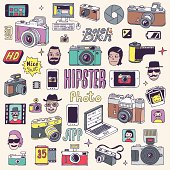 Hand drawn colorful photographic doodles set. Vector illustration.