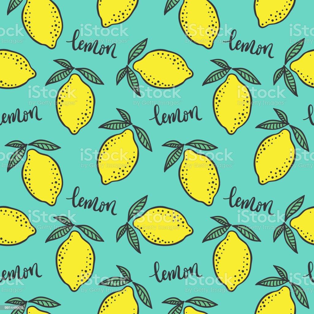 手の描かれたカラフルなシームレス パターン手描きレモンとミント