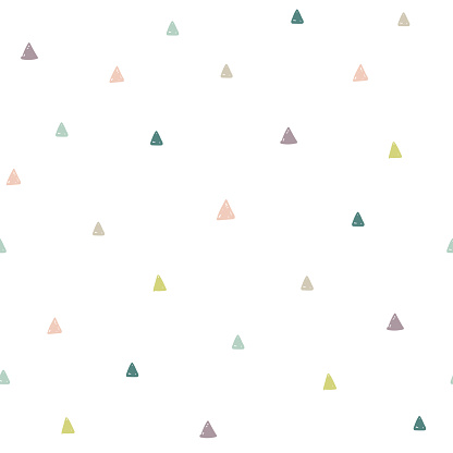 Hand drawn colorful triangles seamless pattern