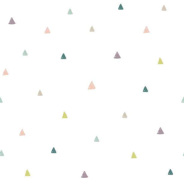stockillustraties, clipart, cartoons en iconen met hand getrokken kleurrijke driehoeken naadloze patroon - background baby