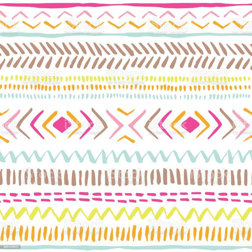 Ilustración de Coloridas Líneas Tribales Dibujados A Mano Rayas ...