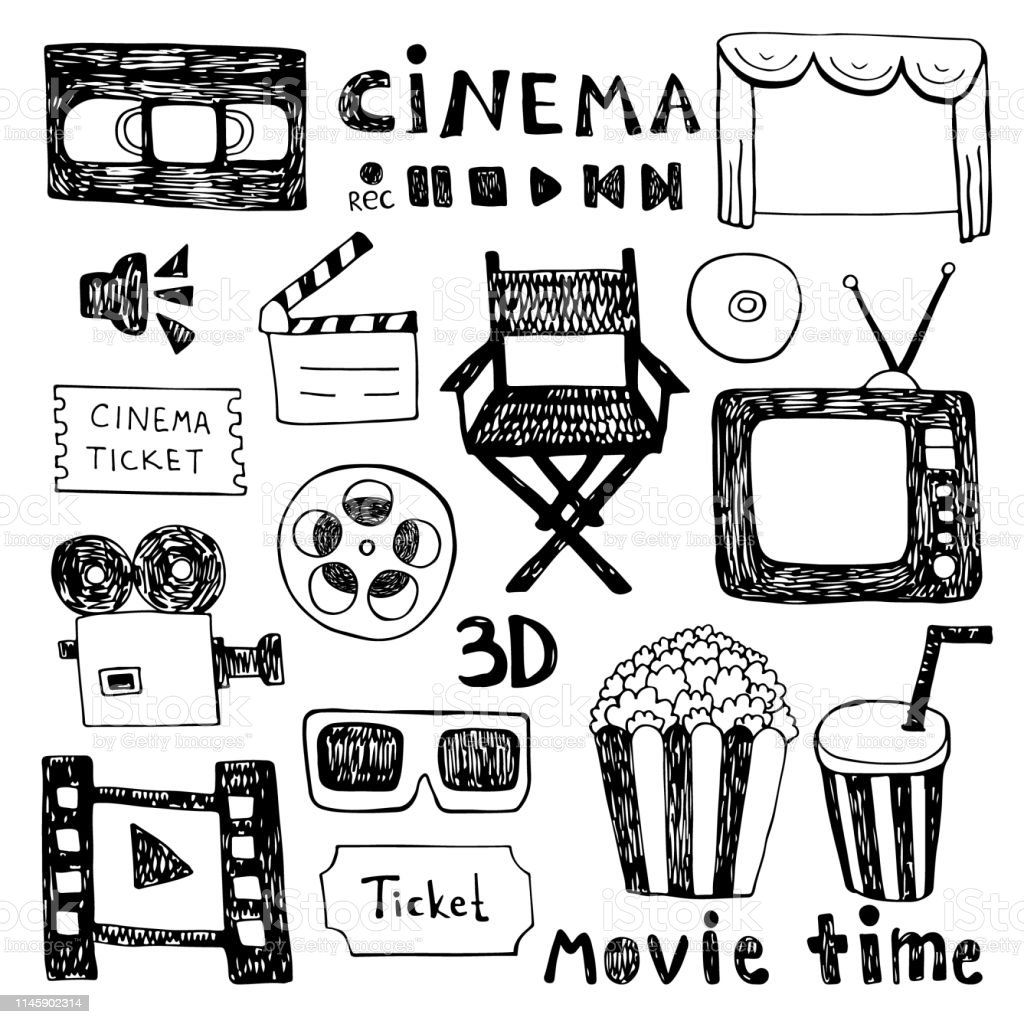 Hand Drawn Colorful Vector Illustrations Cinema Collection