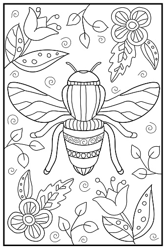 Hand drawn coloring page for kids and adults. Beautiful drawing with patterns and small details. Coloring book pictures.