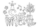 Hand drawn coloring page for adults and children on spring theme: flowers, cats, hearts, young tree, snail, music, butterflies