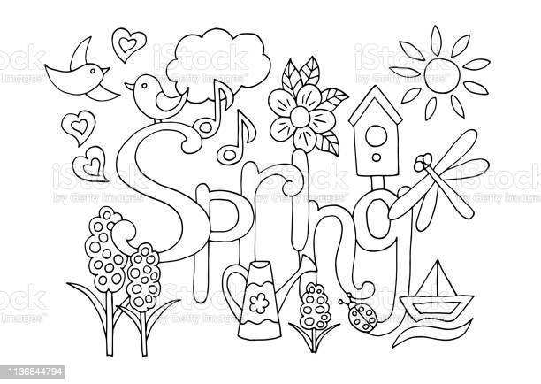 Hand drawn coloring page on spring theme vector id1136844794?b=1&k=6&m=1136844794&s=612x612&h=cimdcs4i7ddqqlzw4meji6tm6fo30hzri wjq0y0ldi=