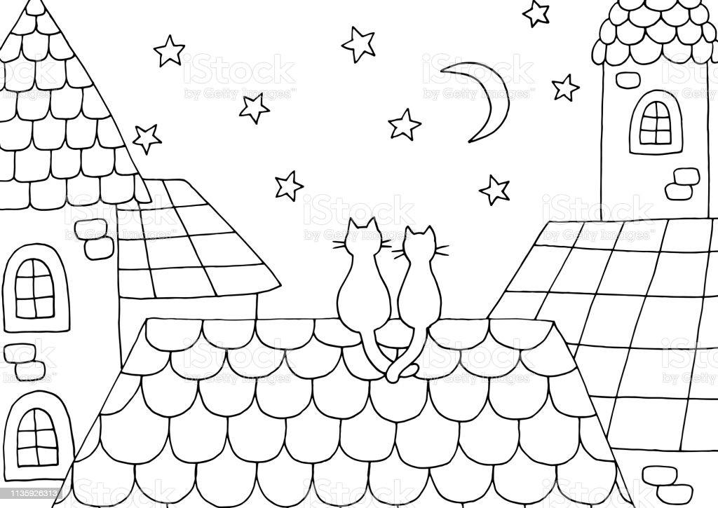 Catida Bir Kedi Ile El Cizilmis Boyama Sayfasi Stok Vektor Sanati