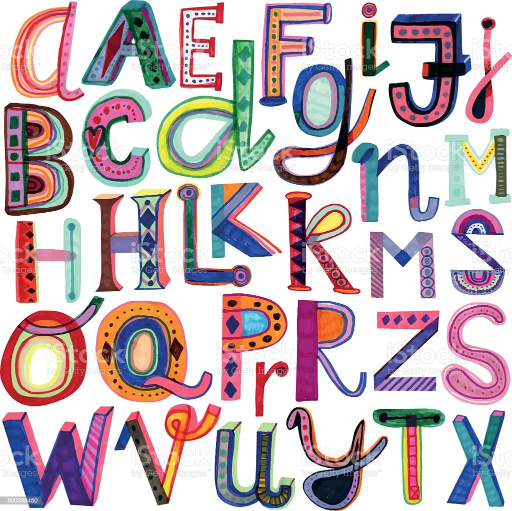 Hand drawn colourful alphabet vector art illustration