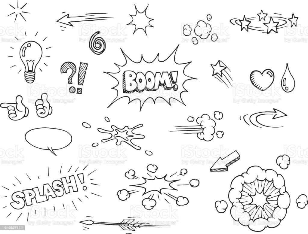 Hand drawn comic elements Vector hand drawn comic elements doodles Arrow - Bow and Arrow stock vector