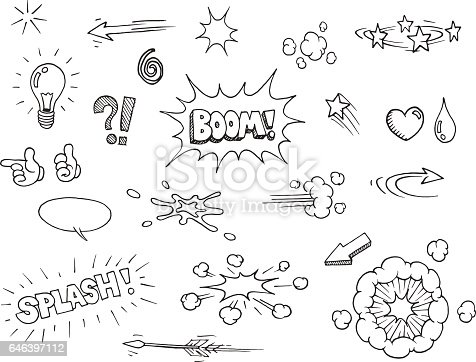 istock Hand drawn comic elements 646397112