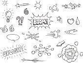 Vector hand drawn comic elements doodles
