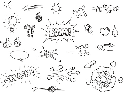 Hand Drawn Comic Elements Stock Illustration - Download Image Now