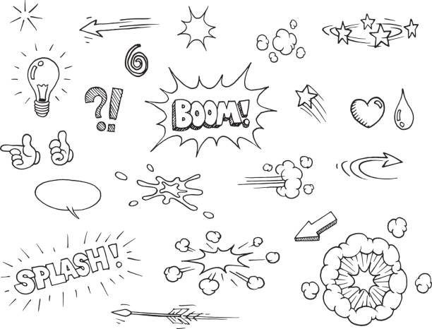 Hand drawn comic elements Vector hand drawn comic elements doodles backgrounds clipart stock illustrations