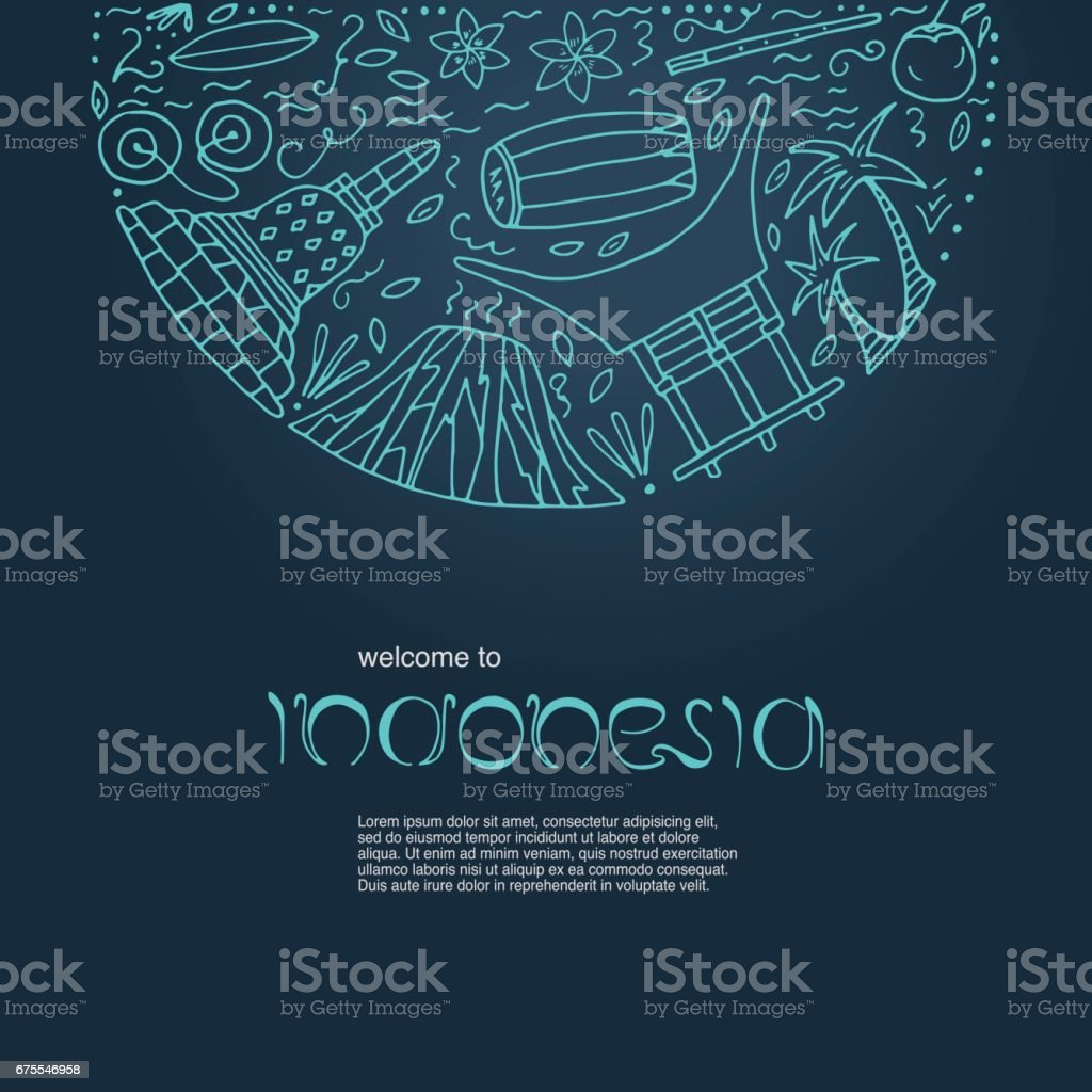 Hand drawn concept with symbols of Indonesia. vector art illustration