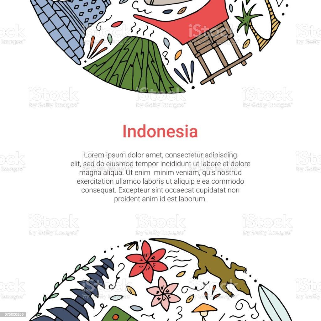 Hand drawn concept with symbols of Indonesia. hand drawn concept with symbols of indonesia – cliparts vectoriels et plus d'images de abstrait libre de droits