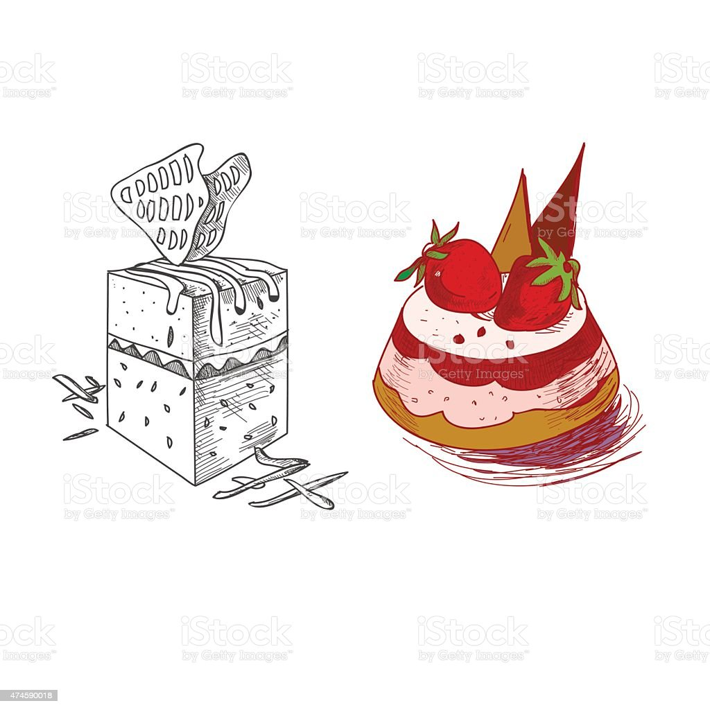 hand drawn confections dessert pastry bakery products pie cupcake muffin vector art illustration