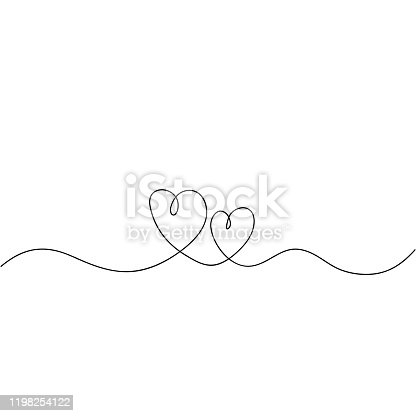 istock hand drawn Continuous line drawing of love sign with hearts embrace minimalism design doodle 1198254122