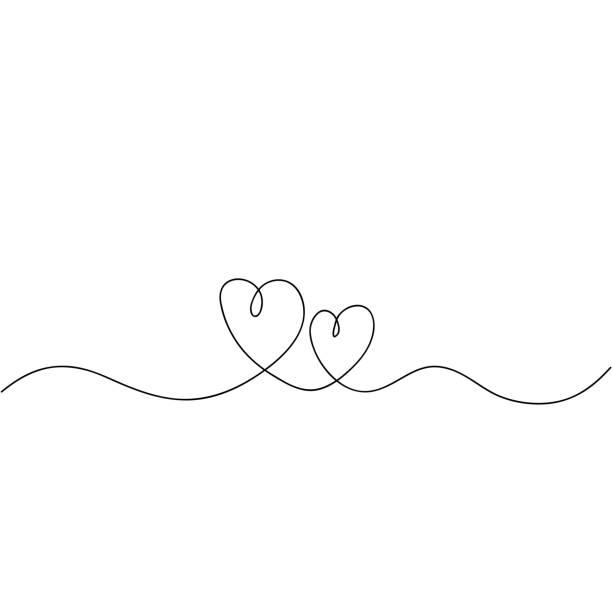 bildbanksillustrationer, clip art samt tecknat material och ikoner med handritad kontinuerlig linje ritning av kärleks skylt med hjärtan omfamna minimalism design doodle - par mänskliga relationer