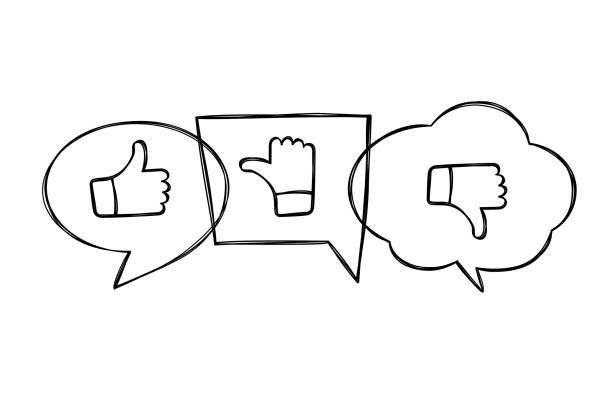 Hand drawn contoured speech bubbles with thumbs up and down. Like, dislike and undecided icons in sketchy style. Hand drawn contoured speech bubbles with thumbs up and down. Like, dislike and undecided icons in sketchy style.  Pointing gesture hands. Feedback concept. infamous stock illustrations