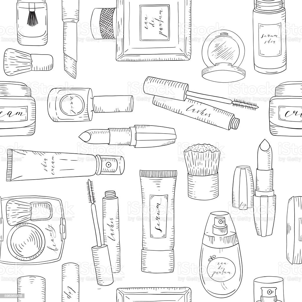 Hand drawn cosmetics pattern. Beauty and makeup. vector art illustration