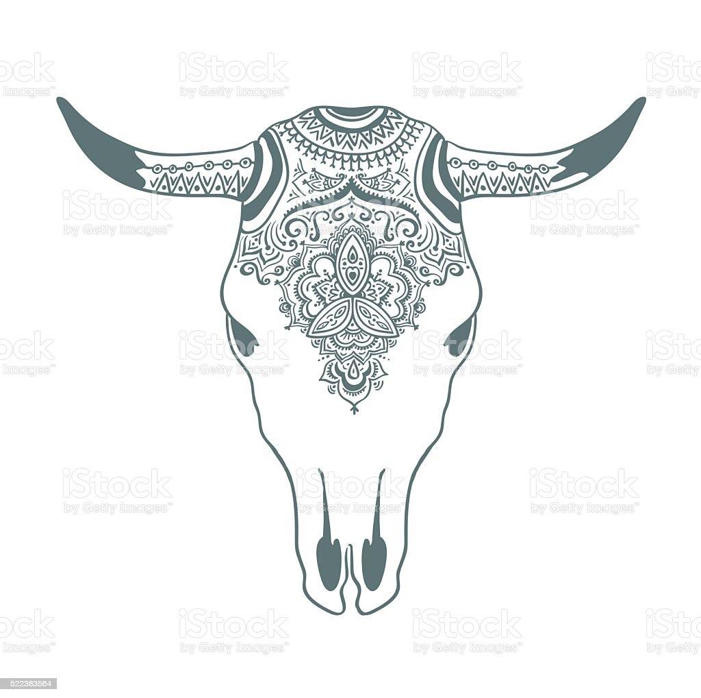 Hand drawn cow skull with ornament. Bohemian design. Vector illustration. vector art illustration