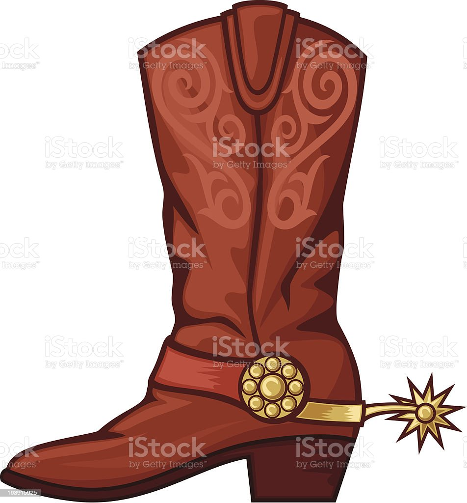 Hand drawn cowboy boot with spurs vector art illustration
