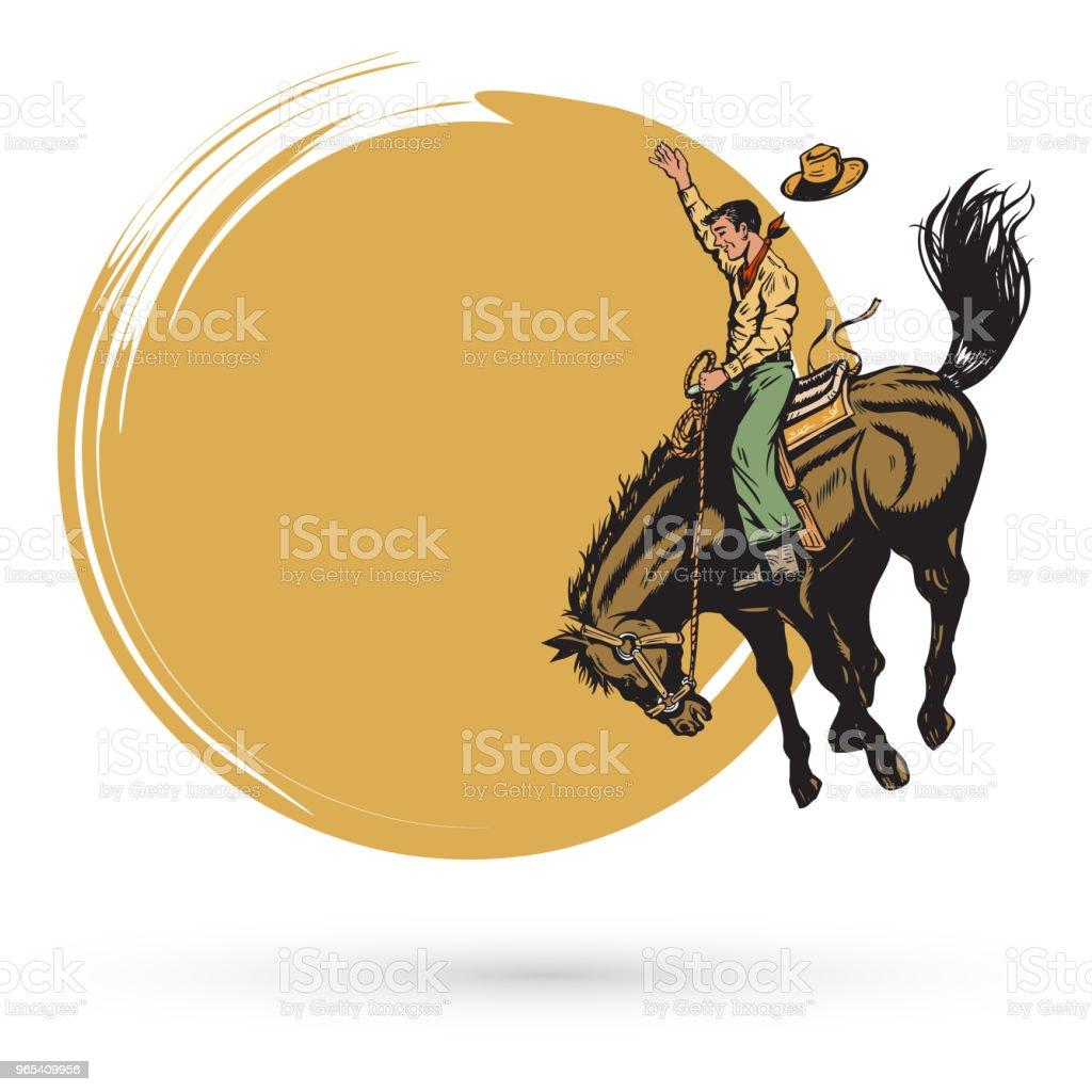 Mão desenhada vaqueiro equitação cavalo banner, vetor - Vetor de Adulto royalty-free