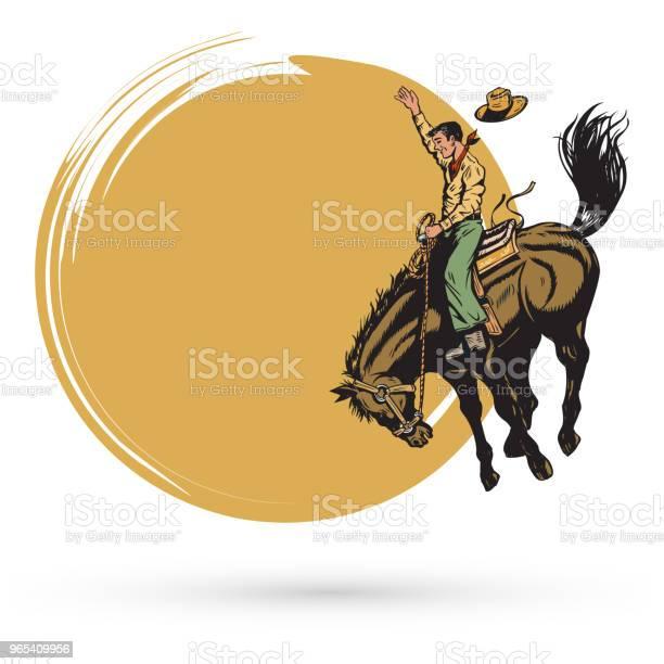 Vetores de Mão Desenhada Vaqueiro Equitação Cavalo Banner Vetor e mais imagens de Adulto