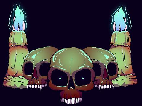 Hand Drawn Creepy Banner Illustration - Skulls and Candles.