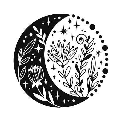 Hand drawn crescent moon with flowers and floal elements.