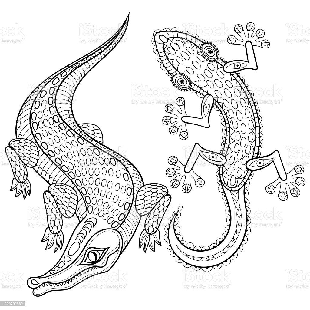 Vetores De Mao Desenhadas Zentangled Crocodilo E Lagarto Para