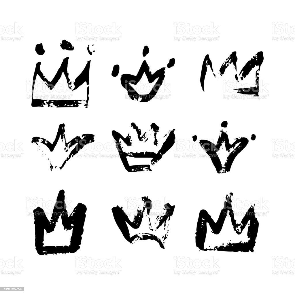 Hand drawn crown logo collection hand drawn crown logo collection - stockowe grafiki wektorowe i więcej obrazów akcesorium osobiste royalty-free